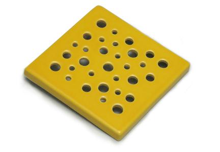 kratka wentylacyjna z ceramiki  żółta 15 x 15 cm