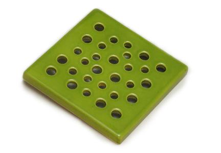 kratka wentylacyjna  z ceramiki<br> zielona 15 x 15 cm