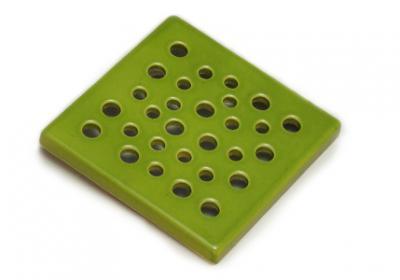 kratka wentylacyjna  z ceramiki  zielona 15 x 15 cm