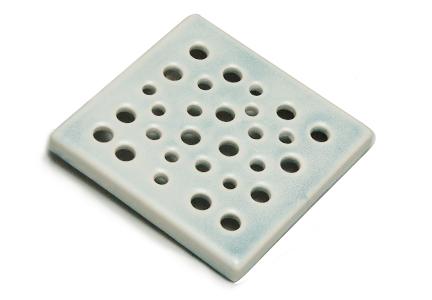 kratka wentylacyjna z ceramiki  niebieska 15 x 15 cm